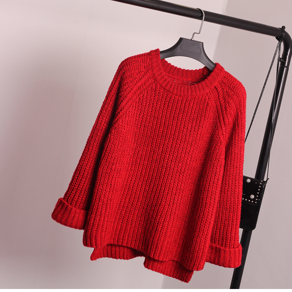 Korean Style Loose Spiit Knit Pullover Solid Color Sweater - Oh Yours Fashion - 2