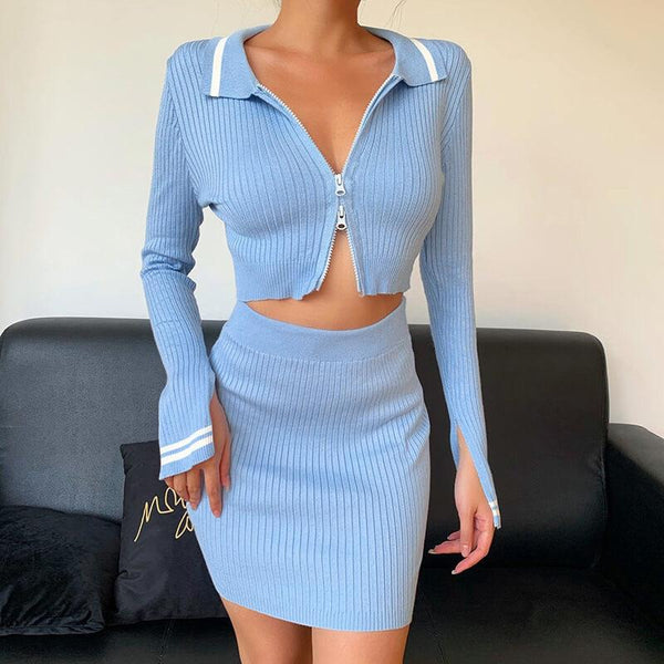 Blue Long Sleeve High Waist Zipper Two Pieces Set
