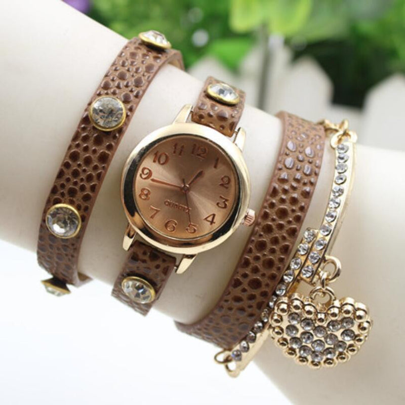 Crystal Heart PU Strap Wristwatch - Oh Yours Fashion - 4