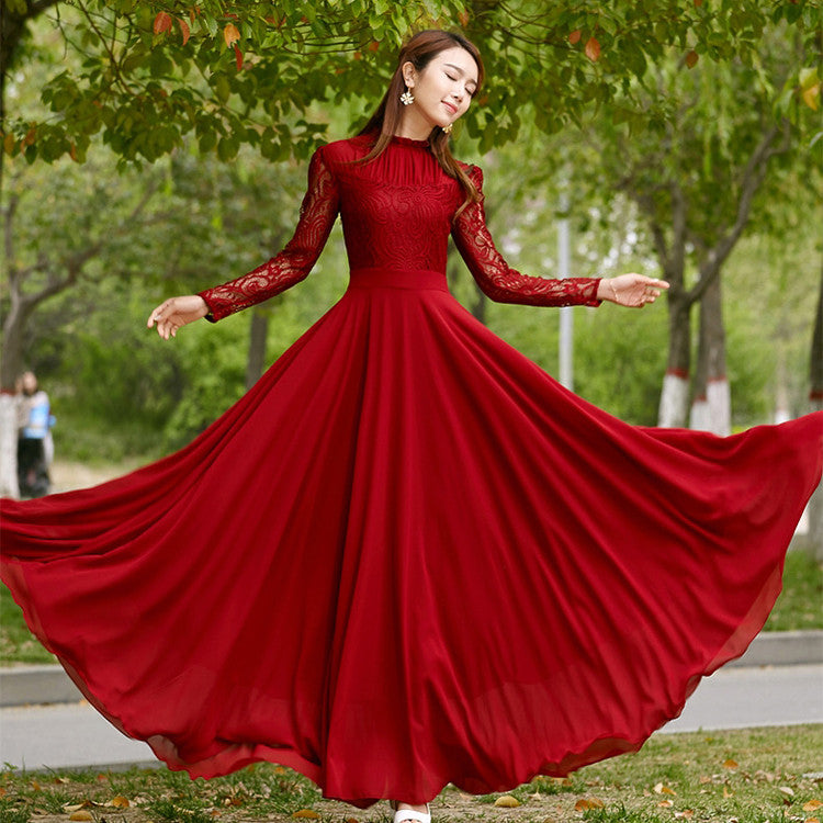 Charming Long Lace Sleeves Pleated Chiffon Long Red Maxi Dress - O Yours Fashion - 1
