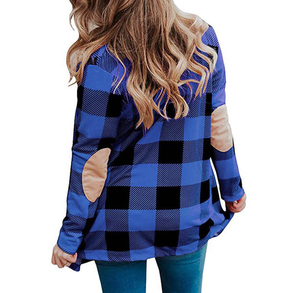 Simple Open Front Plaid Midi Blazer