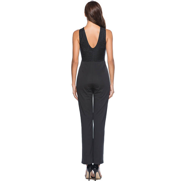 Cut Out Black Sleeveless Jumpsuit