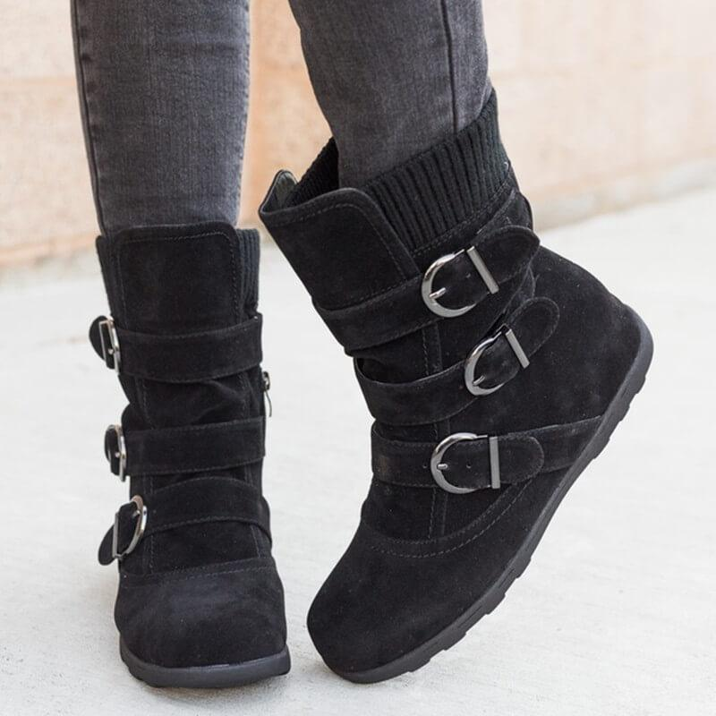 Mid Calf Winter Fur Flat Boot