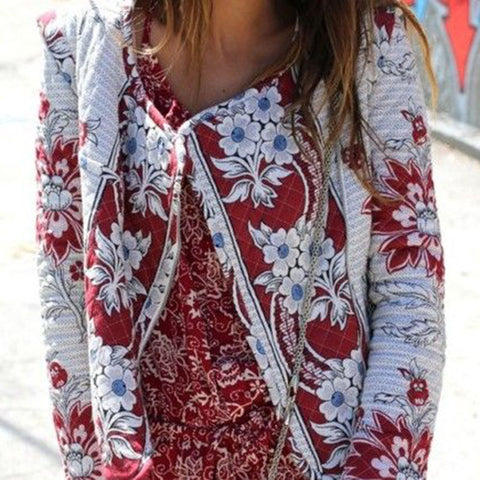 Flower Print Retro Zipper Short Slim Coat