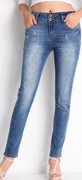 Classic Blue Scratchy Buttons Pencil Denim Pants