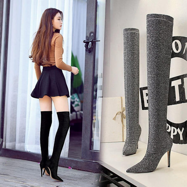 Sexy Sequin Stretch Point Toe High Heel Over Knee Boots