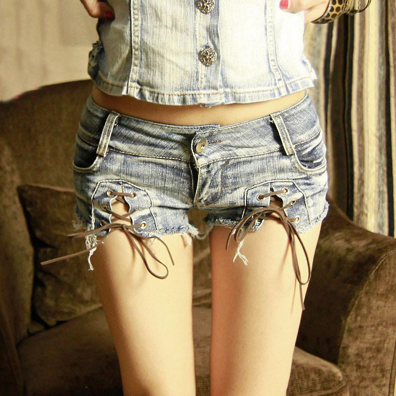 Sexy Low Waist Split Lace Up Women's Shorts