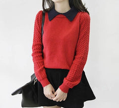 False Two Pieces Pullover Sweater - O Yours Fashion - 1