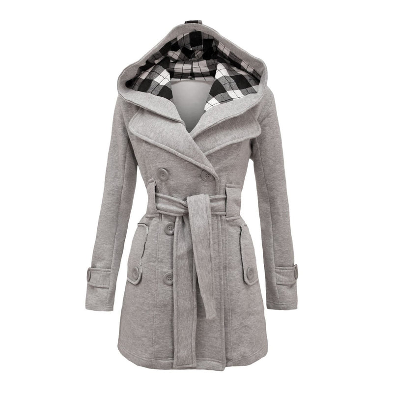 Plus Size Double Breasted Long with Belt Hooded Coat - Oh Yours Fashion - 8