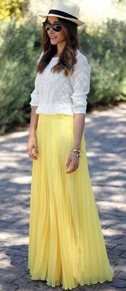 Pure Color Chiffon Pleated Big Long Skirt - Oh Yours Fashion - 7