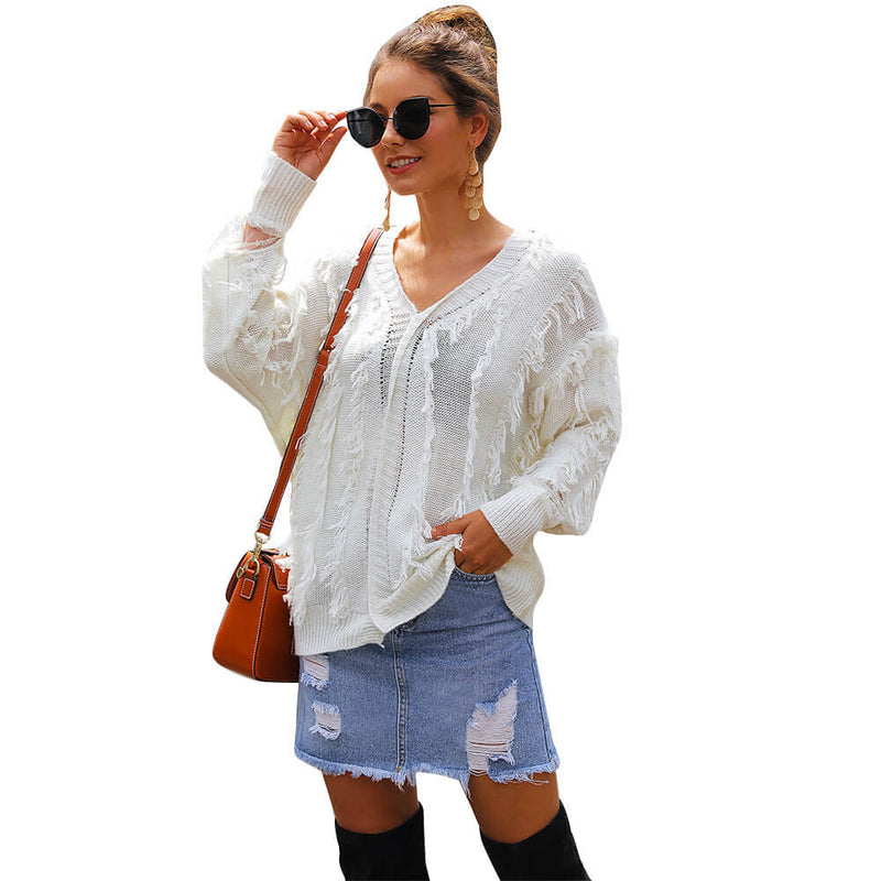 V-Neck Lace Tassel Long Sleeve Women Sweater