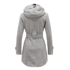 Plus Size Double Breasted Long with Belt Hooded Coat - Oh Yours Fashion - 9
