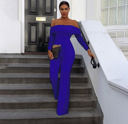 Wide-leg Off The Shoulder Long Sleeves Women Jumpsuit
