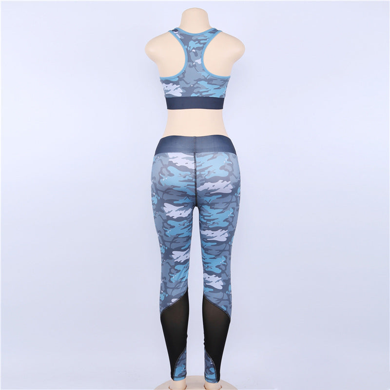 Print Crop Top with Patchwork High Waist Long Leggings Two Pieces Yoga Sports Set