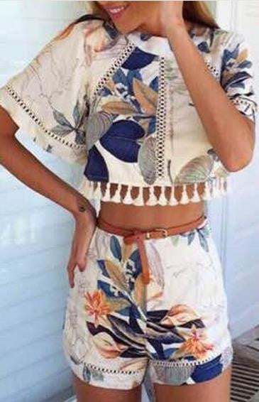 Hollow Out Print Tassel Short Sleeves Crop Top and Shorts Suit - Oh Yours Fashion - 3