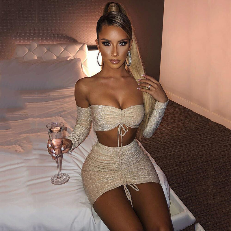 Strapless Crop Top High Waist Short Skirt Set