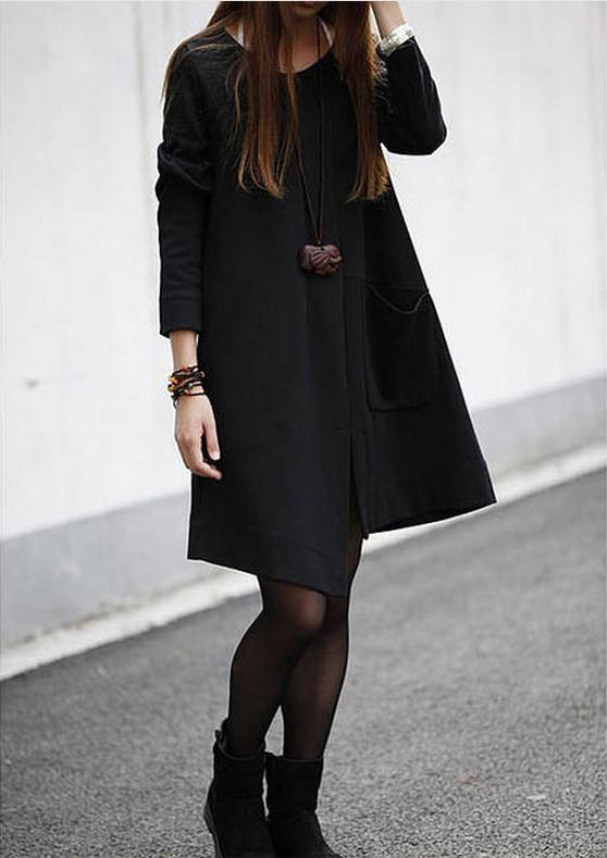 Irregular Big Pocket Scoop Long Sleeves Knee-length Sweatdress - Meet Yours Fashion - 5