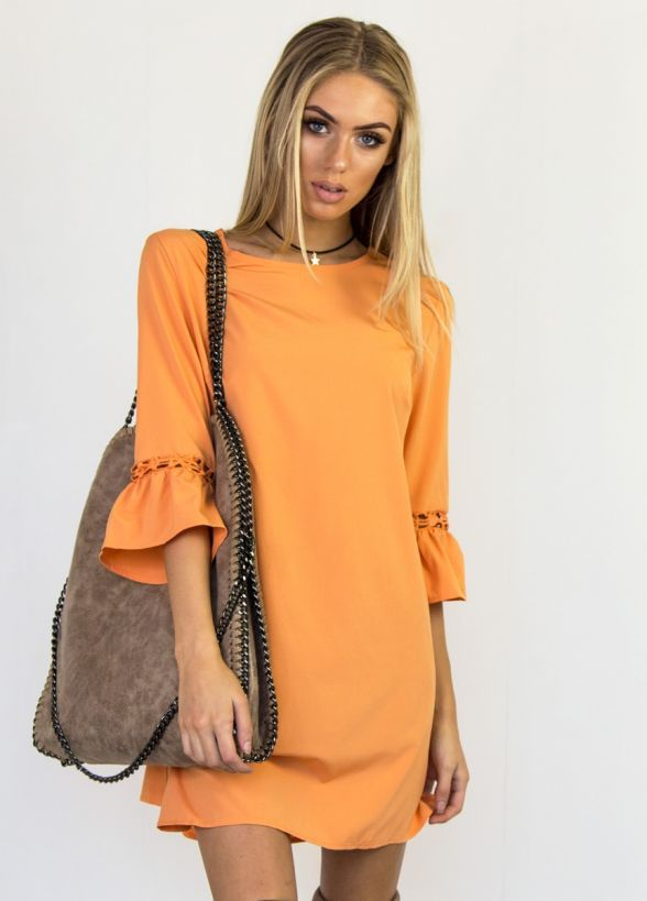 Pure Color Half Trumpet Sleeves Loose Short Dress