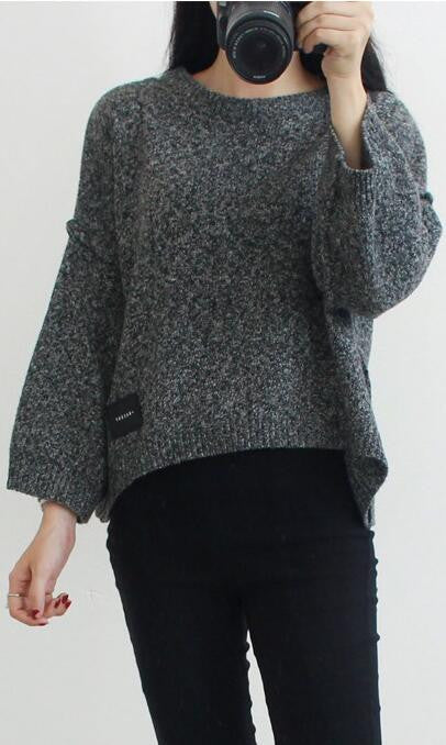 Loose Batwing Sleeve Pullover Knitting Sweater - Oh Yours Fashion - 2