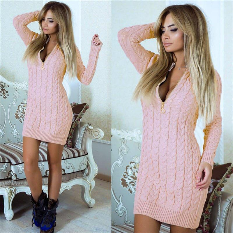 Zip-Up Cable Knit Sweater Dress