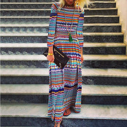 Bohemia Multicolor Striped Maxi Dress