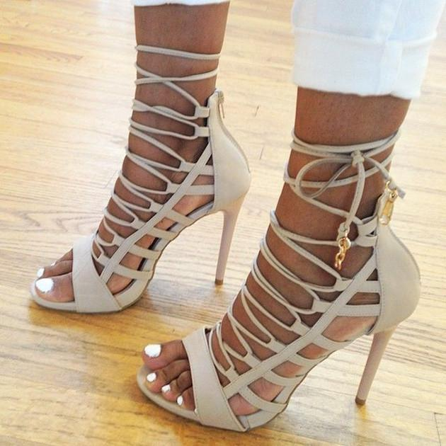 Sexy Lace Up Cut Out PU High Heel Sandals - MeetYoursFashion - 1