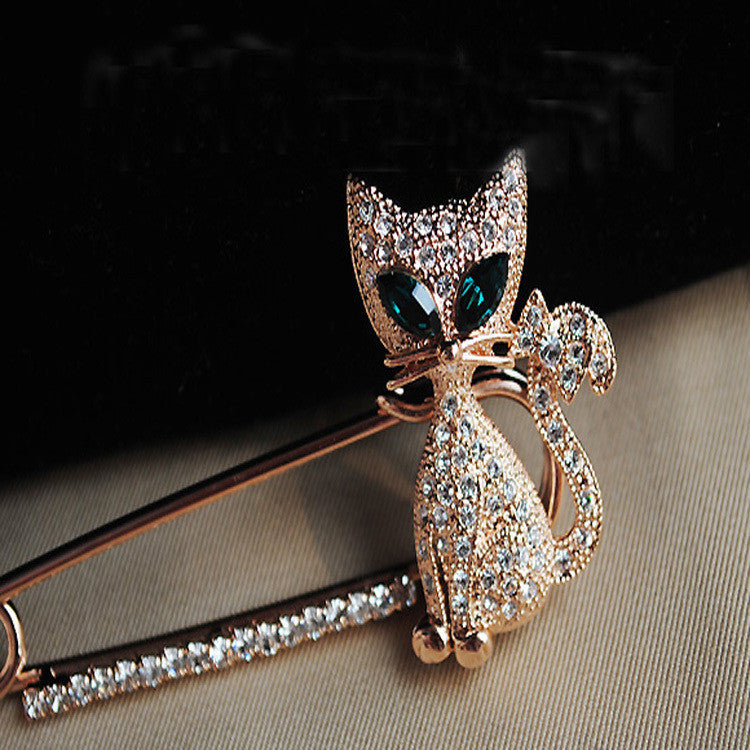 Shining Diamond Cat Brooch - Oh Yours Fashion - 1