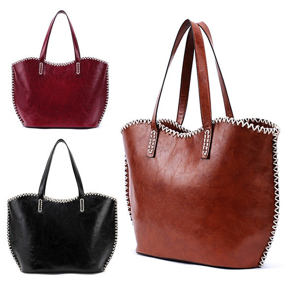 Women's Girls Fashion Western Pattern Plaited Side PU Leather Tote Bag Shoulder Bag Handbag - Oh Yours Fashion - 1