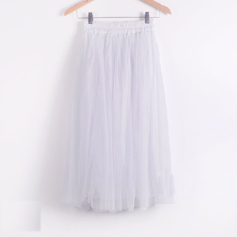 Double Layers Mesh Pleated Long Fluffy Beach Skirt - Oh Yours Fashion - 2
