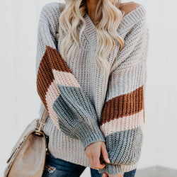 V Neck Colorblock Balloon Sleeve Knit Sweater
