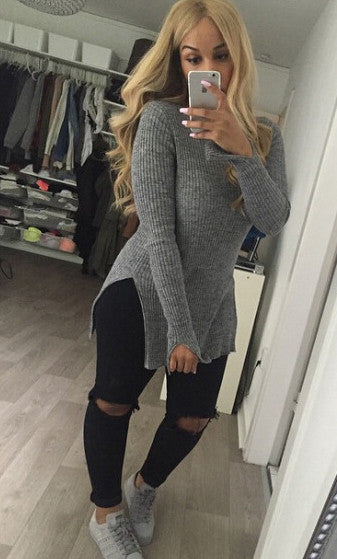 Slit High Collar Solid Color Knit Sweater - Oh Yours Fashion - 2