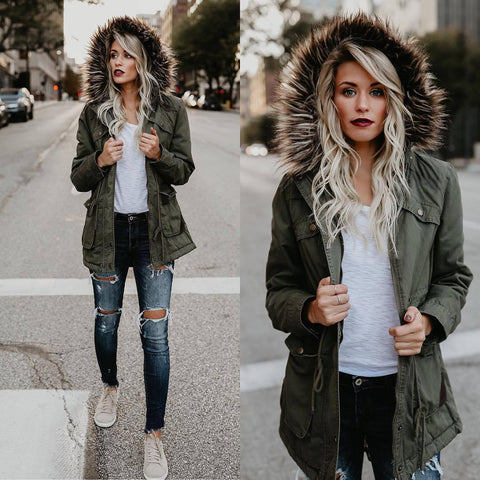 Faux Fur Big Pockets Long Slim Jacket Coat