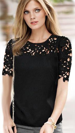 Lace Patchwork Short Sleeves Scoop Hollow Out Chiffon Blouse - Oh Yours Fashion - 2