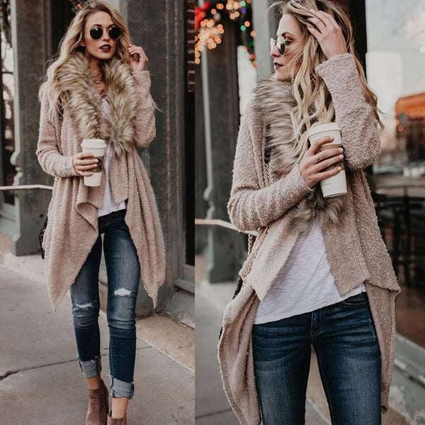 Faux Fur Collar Lapel Irregular Long Loose Coat Outwear