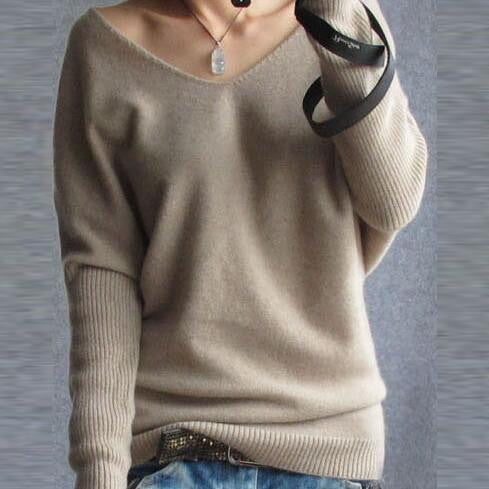 Loose V Neck Batwing Pullover Sweater - Oh Yours Fashion - 1