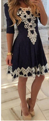 Sexy Lace Flowered Splicing Short Sleeve V-neck Dress - Oh Yours Fashion - 2
