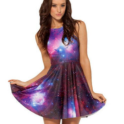 Galaxy Print A-line Tank Short Skater Dress - MeetYoursFashion - 1