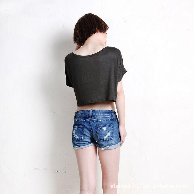 Scoop Casual Short Sleeve Pocket Short Midriff-baring T-shirt - Meet Yours Fashion - 14