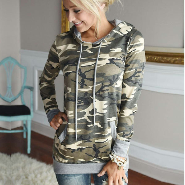 Camouflage Long Sleeves Drawstring Patchwork Hoodies