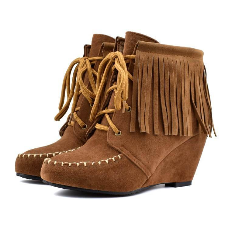 Wedge Lace Up Fringe Suede Ankle Boots