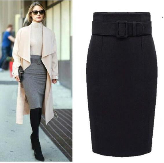 Fashion Belt Buckle Pure Color Cotton Pencil Skirt - Oh Yours Fashion - 4