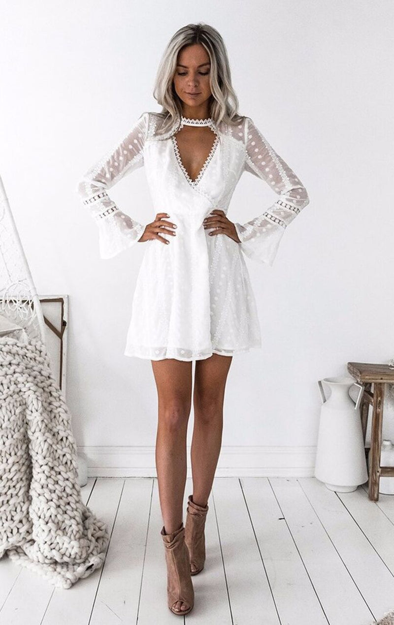 Cut Out V-neck Long Trumpet Sleeves Women Short White Dress