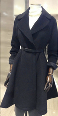 Belt Lapel Pleated Solid Pockets Long Coat - Oh Yours Fashion - 2