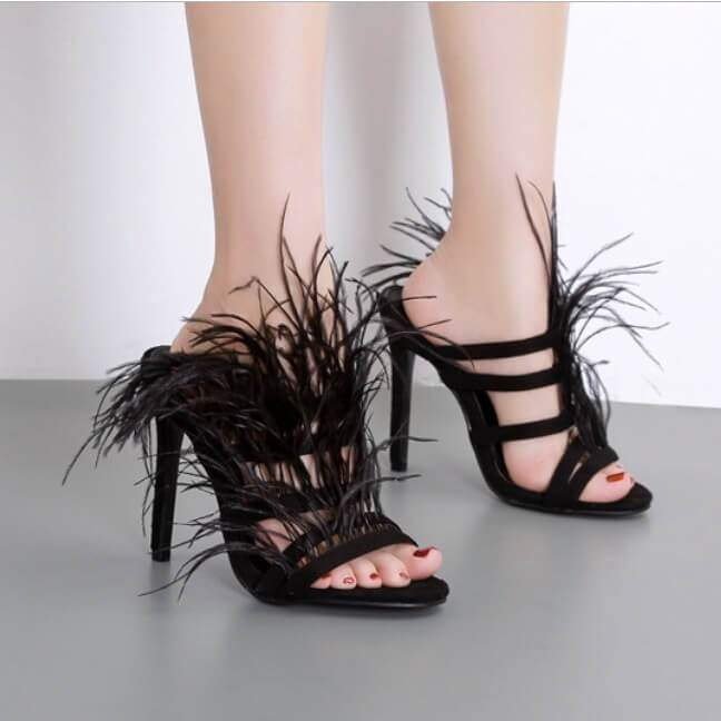 Feather Peep Toe Stiletto High Heel Ankle Boot Sandals