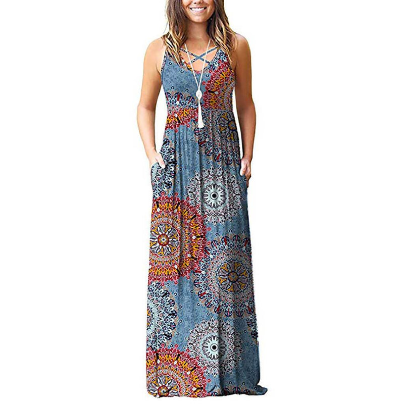 Print Spaghetti Straps Sleeveless Long Dress