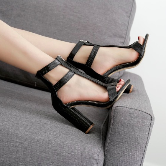 PU Ankle Wraps Open Toe High Chunky Heels Sandals