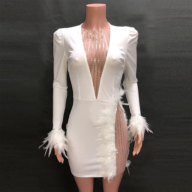 Feather Decorated Sexy Short Dress