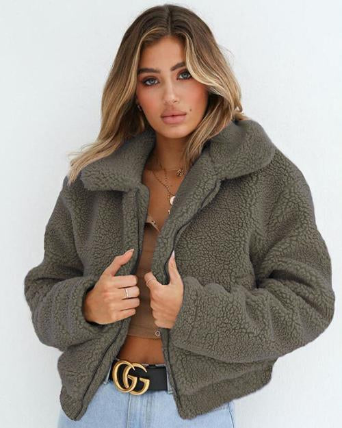 Lapel Zipper Solid Color Women Cropped Faux Fur Teddy Coat