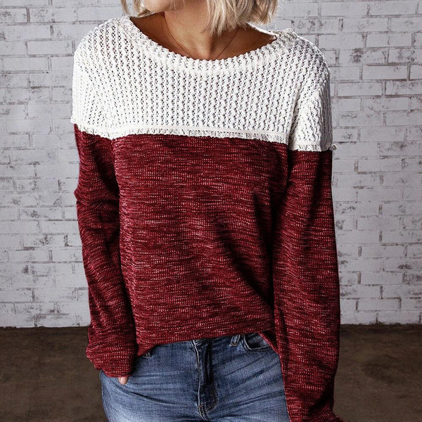 Crewneck Colorblock Hollow Knit Sweater