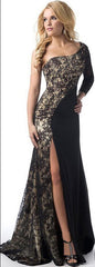 Sexy Lace Splicing One Shoulder Long Party Dress - Oh Yours Fashion - 2